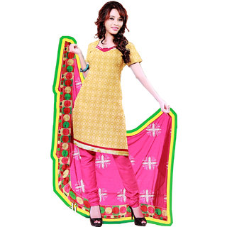 Fashionic Yellow & Pink Cotton Embroidered Party Wear Dress Materials