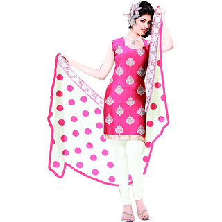 Fashionic Pink & Cream Cotton Embroidered Party Wear Dress Materials