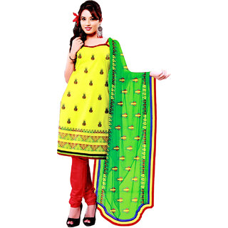 Fashionic Yellow & Red Cotton Embroidered Party Wear Dress Materials
