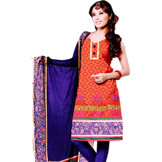 Fashionic Orange & Royal Blue Cotton Embroidered Party Wear Dress Materials