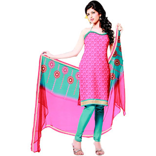Fashionic Pink & Sea Green Cotton Embroidered Party Wear Dress Materials