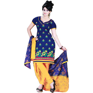 Fashionic Blue & Yellow Cotton Embroidered Party Wear Dress Material