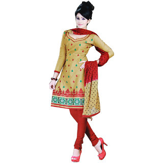 Fashionic Cream & Red Cotton Embroidered Party Wear Dress Material