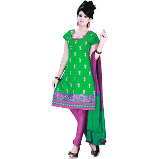 Fashionic Green & Purple Cotton Embroidered Party Wear Dress Material