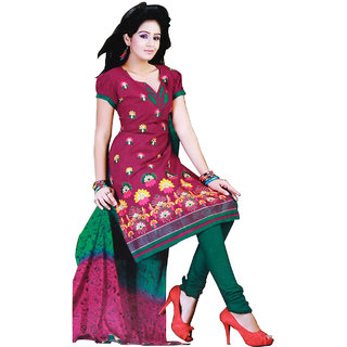Fashionic Pink & Green Cotton Stylish Embroidered Party Wear Dress Material