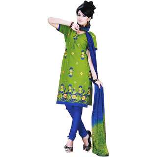 Fashionic Light Green & Blue Cotton Embroidered Party Wear Dress Material