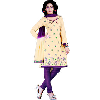 Fashionic Cream & Blue Cotton Embroidered Party Wear Dress Material