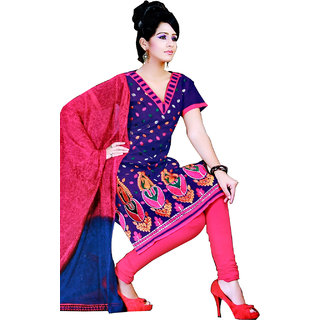 Fashionic Blue & Pink Cotton Embroidered Party Wear Dress Material