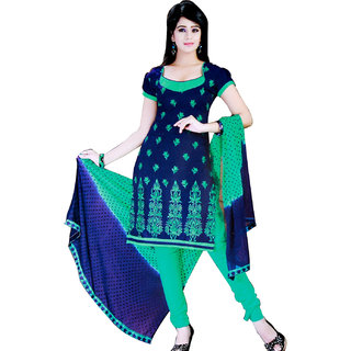 Fashionic Violet & Sea Green Cotton Embroidered Party Wear Dress Material