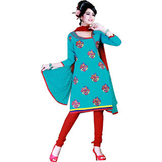Fashionic Blue & Red Cotton Embroidered Party Wear Dress Material