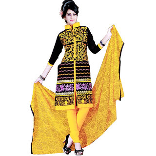 Fashionic Black & Yellow Cotton Embroidered Party Wear Dress Material