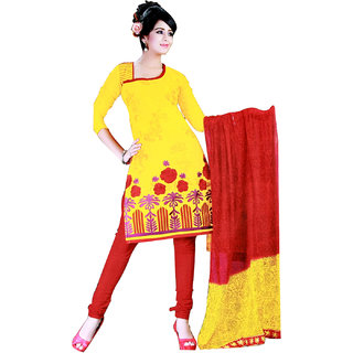 Fashionic Yellow & Red Cotton Embroidered Party Wear Dress Material