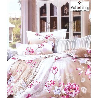 Valtellina Pink Flower Print 2 Single Bedsheets with 2 Pillow Cover (AMZ2S-27)