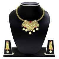 Zaveri Pearls Gold Plated Golden  Pink Necklace Set For Women