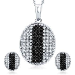 Sukkhi Gleaming Rhodium Plated Black CZ Micro Pave Pendant Set