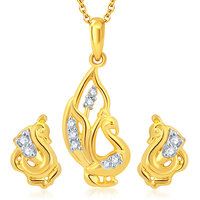 Sukkhi Peacock Gold and Rhodium Plated CZ Pendant Set