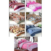 k decor Polycotton ( 7 double bedsheets + 14 pillow covers ) Multicolour