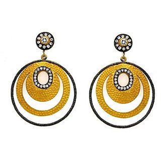 OyeSassy Round 925 Sterling Silver Dangle Earrings Studded With Zircon White (Design 2)
