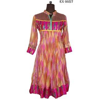Multi Colour Georgette Anarkali Kurti Kurtis Jaipuri Bollywood Designer Pink Yel