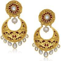 Kriaa Gold Plated MAROON Kundan Pearl Earring -  1305434