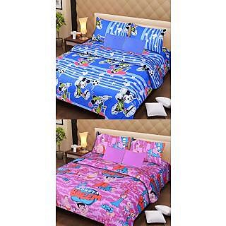 Akash Ganga Special Combo of 2 Cotton Double Bedsheets with 4 Pillow Covers
