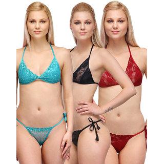 Oleva Multicolor Plain Ladies bra and Panty set combo of 3 ODC-044