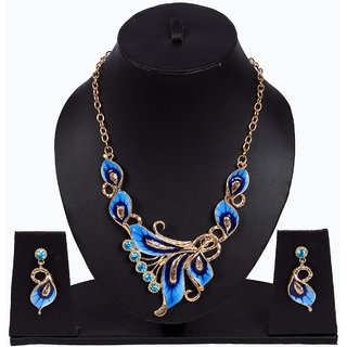Women blue necklace set with earring