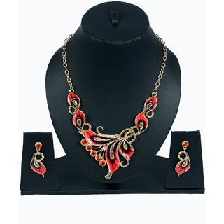 Women red necklace set with earring