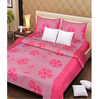 Akash Ganga Pink 100 Cotton Double Bedsheet (Super Soft) with 2 Pillow Covers