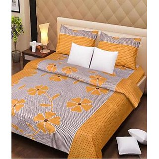 Akash Ganga 100 Pure Cotton Double Bedsheet (Super Soft) with 2 Pillow Covers