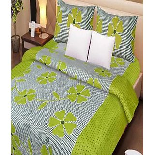 Akash Ganga GREEN 100 Cotton Double Bedsheet (Super Soft) with 2 Pillow Covers