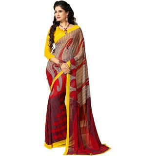 Parisha Red Brocade Self Design Saree With Blouse