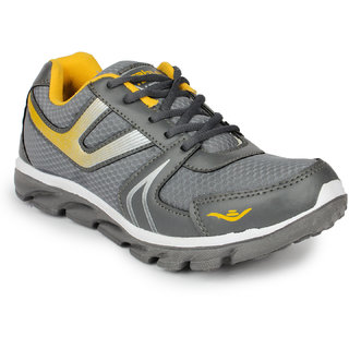 Columbus Mens Gray And Yellow Lace-up Running Shoes