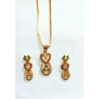 Star fashion locket set with chain AD stone gold plated imitation jewellery LESC 02