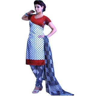 Jethpur Black-White Printed Cotton Unstitched Suit With Dupatta-8011