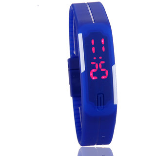 Ultra Thin Silicone Men Watches Sports Digital LED Bracelet Watch blue