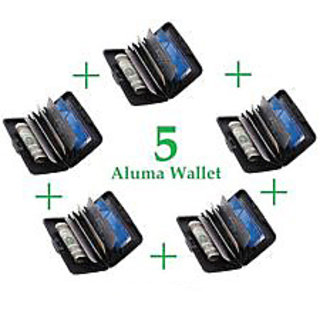 SET OF FIVE - Aluma Wallet - Credit Card Security ATM Money Holder Unisex Purse