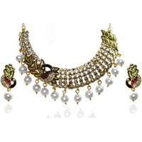 Kriaa Meenakari Kundan Pearl Peacock Gold finish Multi Necklace Set - 2103504