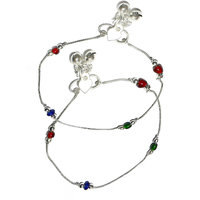Beadworks German Silver, Multicolour Anklet-33 Multi