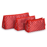 Bendly Red Polka Multipurpose Pouches Set of 3