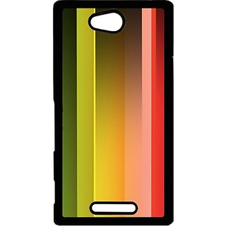 Casotec Rainbow Color White Red Blue Green Print Design Hard Back Case Cover For Sony Xperia C