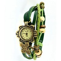 Round Dial Green Leather Strap Women Watch