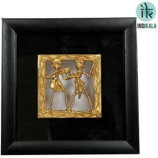indikala Square Shaped Dhokra Work Paintings with Black silk border (IK-01-058)