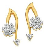Lovely Fancy Flower Earrings Studded With Real Gold And Diamonds (Bge048)
