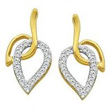 Lovely Leaf Shape Earrings Studded With Real Gold And Diamonds (Bge057)