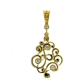 Ag Real Diamond Four Stones Traditional Shape Pendant # Agsp0078