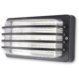 Fos Lighting Unbreakable Outdoor Black Louvered Bulkhead Light