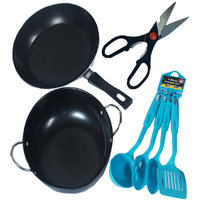 7 PC Non Stick Cookware Set Induction Base- Kadhai, Fry Pan, 4 Pc Cutlery ,Scess