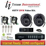 CCTV Camera Kit Set Of 2 NIGHT Vision CCTV Camera And 4 Ch DVR