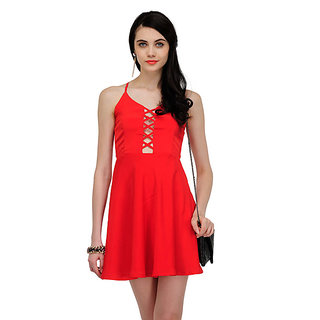 Yepme Wendy Solid Dress - Red